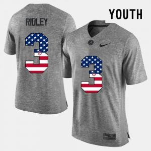 US Flag Fashion Youth(Kids) Gray Calvin Ridley Alabama Jersey #3 460958-789
