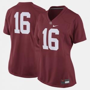 Alabama Jersey College Football #16 Crimson Womens 507896-686