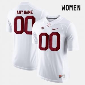 Alabama Custom Jerseys For Women #00 College Limited Football White 137953-685