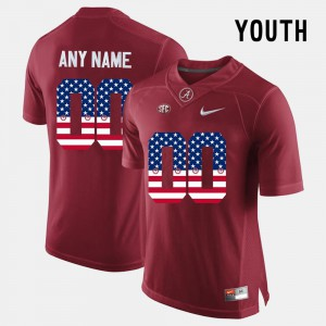 Crimson US Flag Fashion Alabama Custom Jerseys #00 Youth 883371-490