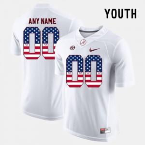 #00 US Flag Fashion For Kids Alabama Customized Jerseys White 485164-832