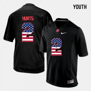 #2 Black US Flag Fashion Kids Jalen Hurts Alabama Jersey 454840-921