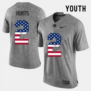 Jalen Hurts Alabama Jersey US Flag Fashion Gray #2 Kids 954945-404