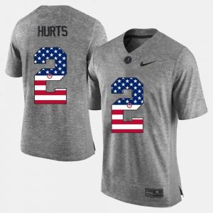 Jalen Hurts Alabama Jersey For Men US Flag Fashion Gray #2 789998-752