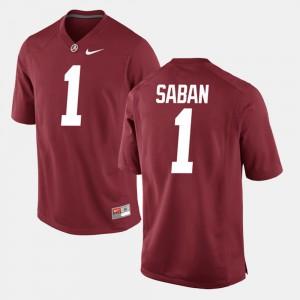 Men's #1 Crimson Alumni Football Game Nick Saban Alabama Jersey 305013-329