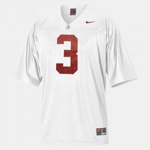 For Men #3 College Football Trent Richardson Alabama Jersey White 116802-833