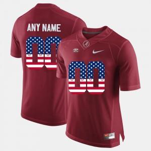 Men's US Flag Fashion Alabama Custom Jersey #00 Crimson 332703-552