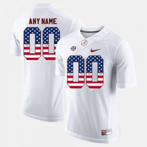 For Men #00 US Flag Fashion Alabama Custom Jerseys White 126513-380