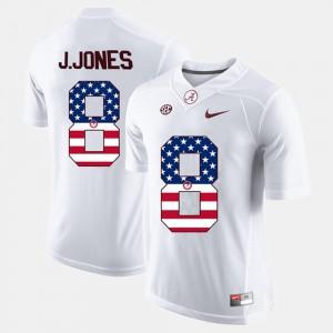 Julio Jones Alabama Jersey Men White #8 US Flag Fashion 575327-705