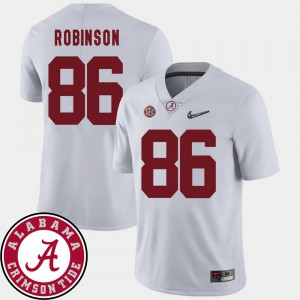 #86 College Football A'Shawn Robinson Alabama Jersey 2018 SEC Patch Men White 533650-342