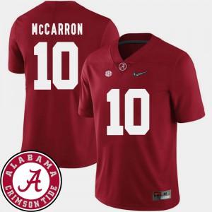 Men AJ McCarron Alabama Jersey Crimson College Football #10 2018 SEC Patch 336186-745