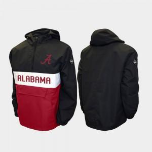 Black For Men Alpha Anorak Pullover Alabama Jacket Half-Zip 926773-432