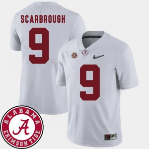 Bo Scarbrough Alabama Jersey For Men's #9 2018 SEC Patch College Football White 945071-687