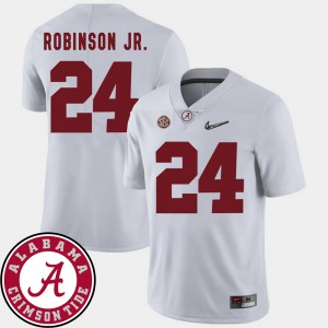 For Men's White #24 College Football 2018 SEC Patch Brian Robinson Jr. Alabama Jersey 696013-496