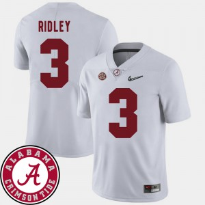 #3 Men College Football Calvin Ridley Alabama Jersey White 2018 SEC Patch 395689-613