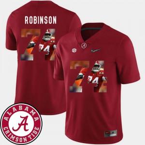 Cam Robinson Alabama Jersey #74 Crimson Pictorial Fashion Football For Men's 898298-815