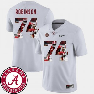 #74 Football For Men's Cam Robinson Alabama Jersey White Pictorial Fashion 747149-182
