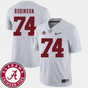 College Football Cam Robinson Alabama Jersey #74 2018 SEC Patch White Men's 337929-469