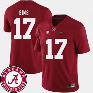 2018 SEC Patch Men's Crimson Cam Sims Alabama Jersey #17 College Football 782488-505