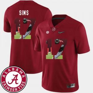 Crimson Football For Men's #17 Cam Sims Alabama Jersey Pictorial Fashion 522139-532