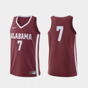 Crimson #7 Alabama Jersey College Basketball Men's Replica 260321-782