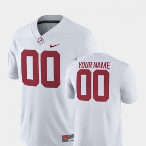 #00 For Men's College Football Alabama Customized Jerseys 2018 Game White 297028-386