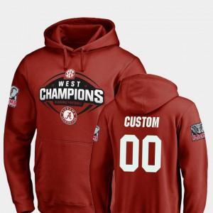 Alabama Custom Hoodie For Men Crimson #00 Football 2018 SEC West Division Champions 797673-683