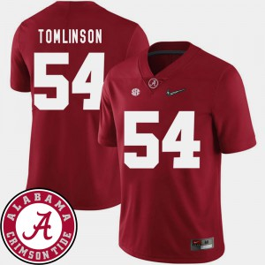 Crimson Men's #54 College Football Dalvin Tomlinson Alabama Jersey 2018 SEC Patch 446553-778