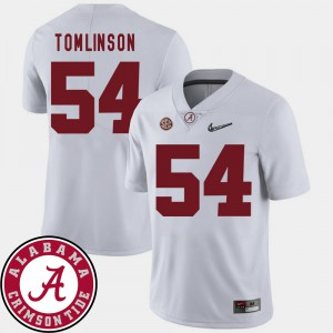 Men College Football White Dalvin Tomlinson Alabama Jersey 2018 SEC Patch #54 259483-341