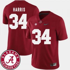 Men #34 Damien Harris Alabama Jersey Crimson 2018 SEC Patch College Football 620062-630