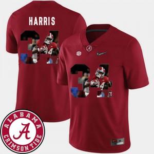 Men Crimson Damien Harris Alabama Jersey #34 Pictorial Fashion Football 676329-631
