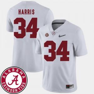 College Football 2018 SEC Patch White Mens Damien Harris Alabama Jersey #34 701081-324