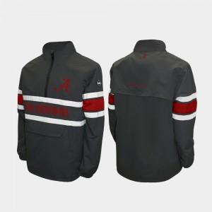 Gray Alpha Windshell Pullover For Men's Alabama Jacket Quarter-Zip 310370-804