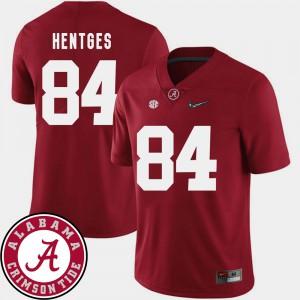 Crimson Hale Hentges Alabama Jersey 2018 SEC Patch For Men #84 College Football 500296-603