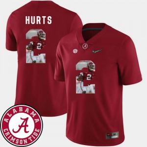 Pictorial Fashion Football Crimson Jalen Hurts Alabama Jersey #2 Men's 266349-735