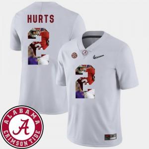 #2 Football Pictorial Fashion Men's Jalen Hurts Alabama Jersey White 835138-581