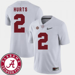 For Men's #2 College Football 2018 SEC Patch Jalen Hurts Alabama Jersey White 800853-689