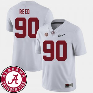 #90 2018 SEC Patch College Football For Men's Jarran Reed Alabama Jersey White 439312-320