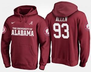 Crimson #93 For Men Jonathan Allen Alabama Hoodie 543309-999
