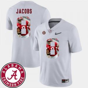 Men's Pictorial Fashion #8 Football Josh Jacobs Alabama Jersey White 927936-904