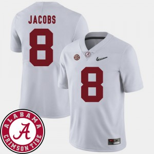 White Josh Jacobs Alabama Jersey 2018 SEC Patch #8 College Football For Men's 471850-662