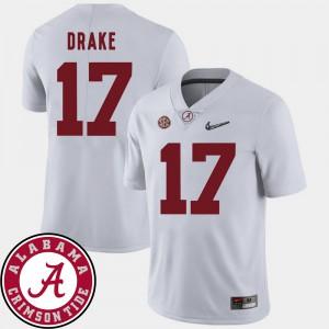 Men #17 2018 SEC Patch College Football White Kenyan Drake Alabama Jersey 379258-849