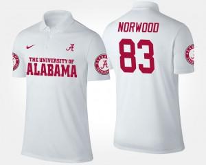 Kevin Norwood Alabama Polo White #83 For Men's 334987-508