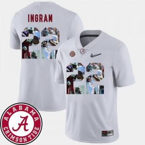 Football #22 White Pictorial Fashion Men's Mark Ingram Alabama Jersey 974268-256