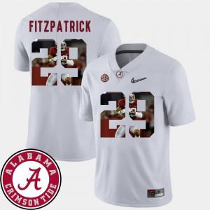 Men Pictorial Fashion Minkah Fitzpatrick Alabama Jersey #29 White Football 834776-614