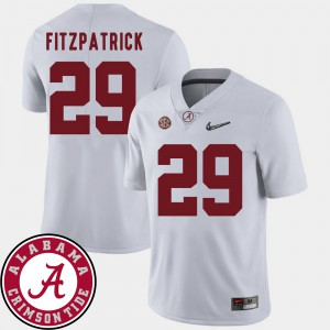 For Men #29 2018 SEC Patch Minkah Fitzpatrick Alabama Jersey White College Football 485654-413