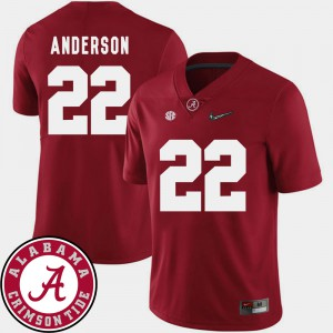 #22 Crimson College Football Ryan Anderson Alabama Jersey 2018 SEC Patch Men 963293-370