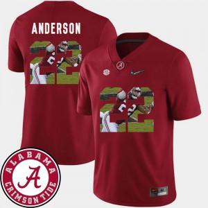 For Men's Pictorial Fashion Football Ryan Anderson Alabama Jersey Crimson #22 781039-127