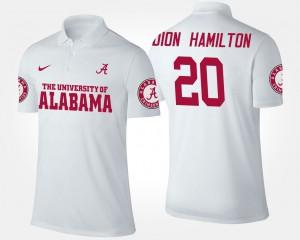 For Men's #20 Shaun Dion Hamilton Alabama Polo White 811061-508