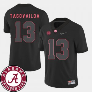 College Football #13 Tua Tagovailoa Alabama Jersey 2018 SEC Patch For Men Black 882452-858